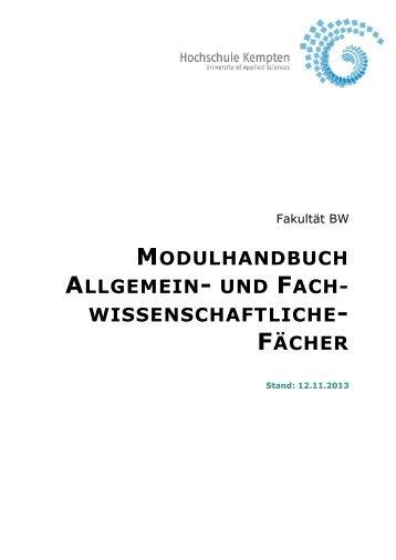 Modulhandbuch AW/FW-Fächer - Hochschule Kempten