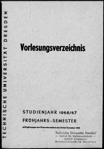 Vorlesungsverzeichnis Studienjahr 1966/67 Frühjahrssemester