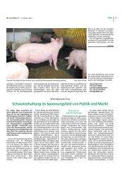 Schweinehaltung im Spannungsfeld von Politik und Markt