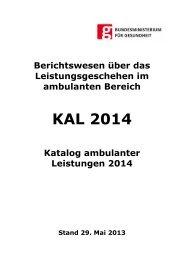 Katalog ambulanter Leistungen (KAL) 2014 Stand 2013-05-29