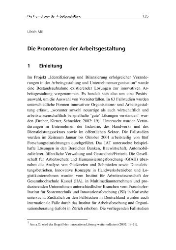 Die Promotoren der Arbeitsgestaltung - Institut Arbeit und Qualifikation