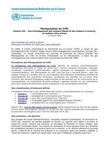 Volume 105 – Gaz d'échappement des moteurs Diesel et des ... - IARC