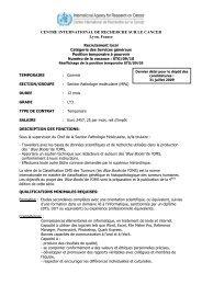 CENTRE INTERNATIONAL DE RECHERCHE SUR LE ... - IARC