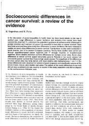 Socioeconomic differences in cancer survival - ResearchGate