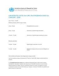 2006 / Université d'été du CIRC / Cours de Formation ... - IARC