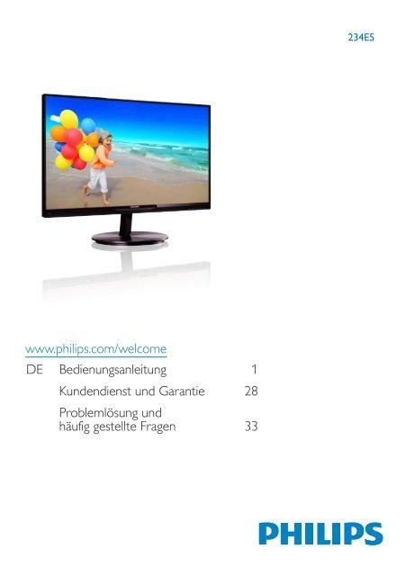 www.philips.com/welcome DE Bedienungsanleitung 1 ...