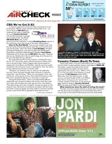Issue 334 - February 25, 2013 - Country Aircheck