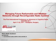 Managing Future Radiomobile and Wireless Networks through - iaria