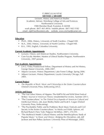 1 CURRICULUM VITAE MICHAEL J. KRAMER Lecturer, History and ...