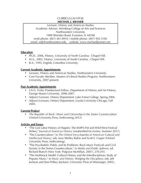 1 Curriculum Vitae Michael J Kramer Lecturer History And
