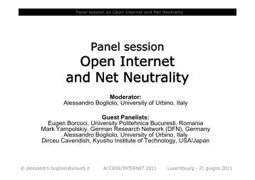 Open Internet and Net Neutrality - iaria