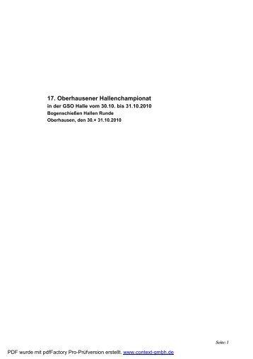 17. Oberhausener Hallenchampionat - Bogensport-Hamm