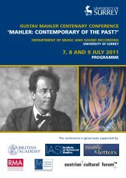 mahler: contemporary of the past?l 7, 8 - Institute of Advanced ...