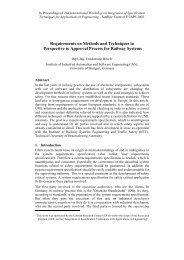 Requirements on Methods and Techniques in Perspective to ...