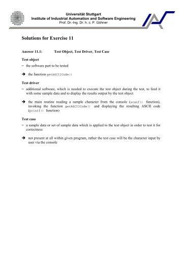 Solutions for Exercise 11 - Universität Stuttgart