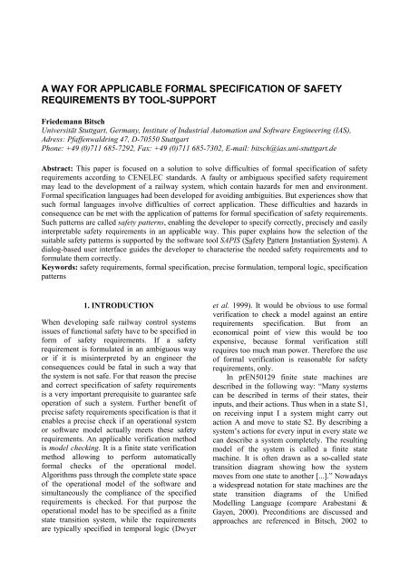 a way for applicable formal specification of safety requirements by ...