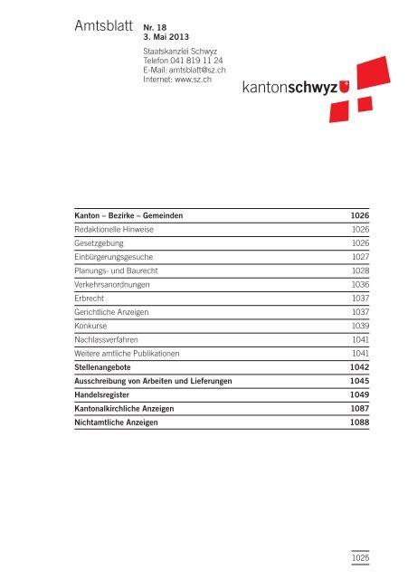 Amtsblatt Nr. 18 vom 3. Mai 2013 (262 KB), S. 1025 - Kanton Schwyz