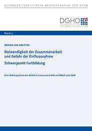 Gesundheitspolitische Schriftenreihe der DGHO, Band 3