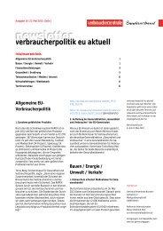 Newsletter Verbraucherpolitik EU aktuell 10/2013 - vzbv