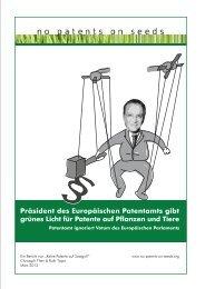 Neue Welle von Patenten 2013 - Greenpeace