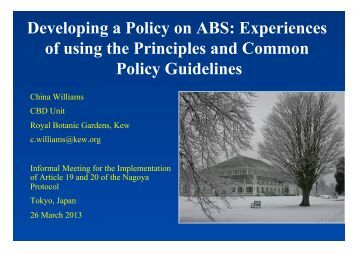 Experiences of using the Principles and Common Policy ... - UNU-IAS