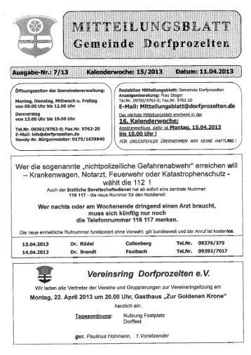 E-Mail: Mitteilungsblatt@dorfprozelten.de - Gemeinde Dorfprozelten