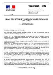 Vollständige Neujahrsansprache - Französische Botschaft