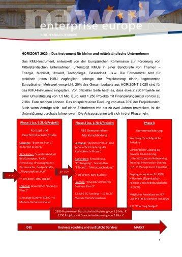 Das Instrument für kleine und mittelständische Unternehmen