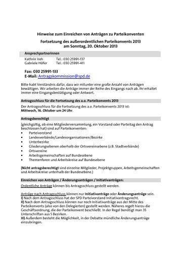 Hinweise zum Einreichen von Anträgen zu Parteikonventen - SPD