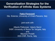 Generalization Strategies for the Verification of Infinite State ... - Cnr