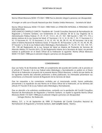 SECRETARIA DE SALUD Norma Oficial Mexicana NOM-173 ... - Iasis