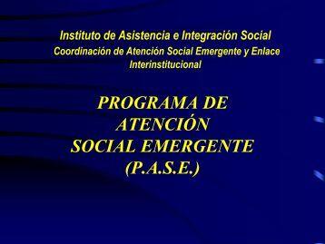 programa de atención social emergente (pase) - Iasis - Gobierno del ...