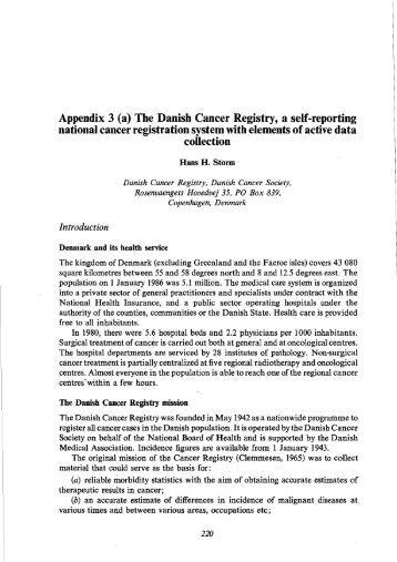 Appendix 3 (a) The Danish Cancer Registry, a self-reporting ... - IARC
