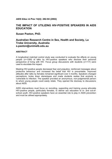 The Impact of Utilizing HIV-Positive Speakers in Aids Education