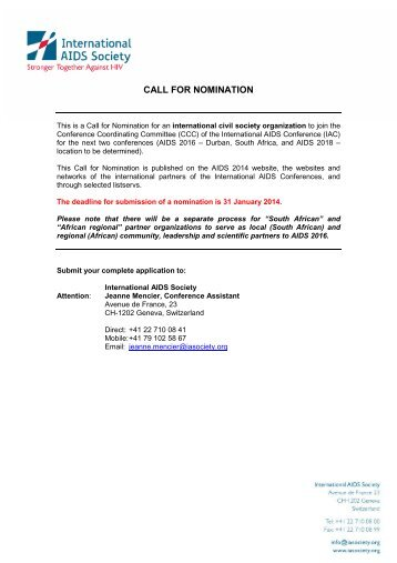 CALL FOR NOMINATION - International AIDS Society