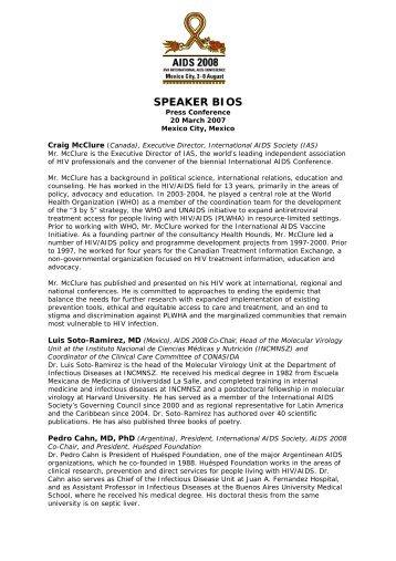 Speaker Bios - XVII International AIDS Conference