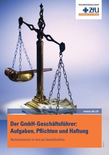 Der GmbH-Geschäftsführer - ZfU International Business School