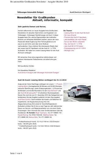 Großkunden-Newsletter September/Oktober 2010 - Audi