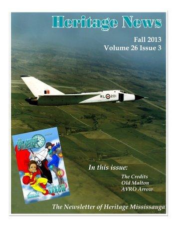Fall 2013 Newsletter November 7 - Heritage Mississauga