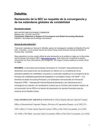 Declaración de la SEC en respaldo de la convergencia y ... - IAS Plus