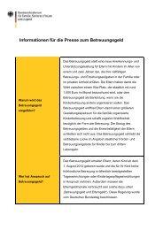 Informationen für die Presse zum Betreuungsgeld (nicht ...