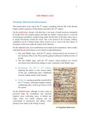 THE MIDDLE AGES Chronology, Historical and cultural aspects This ...