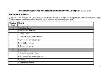 Curriculum - Heinrich Mann Gymnasium