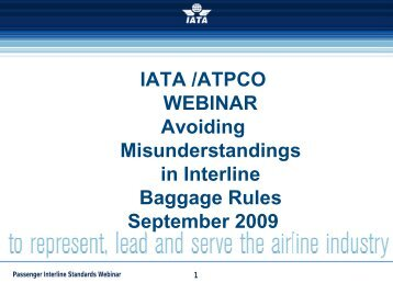 IATA /ATPCO WEBINAR Avoiding Misunderstandings in Interline ...