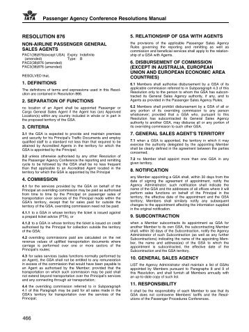 Passenger Agency Conference Resolutions Manual ... - IATA