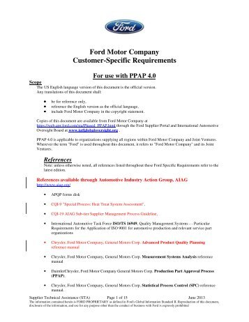 Ford customer specific requirements for Ford motor customer service