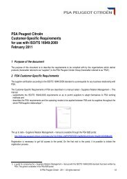 PSA Peugeot Citroën Customer-Specific Requirements for use with ...