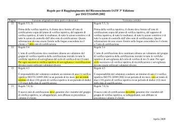 Regole per il Raggiungimento del Riconoscimento IATF 3° Edizione ...