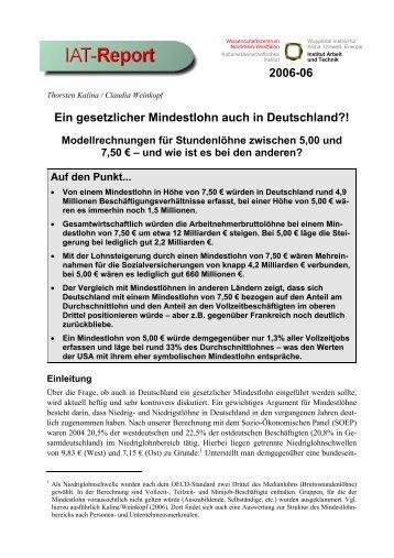 Ein gesetzlicher Mindestlohn auch in Deutschland?! - beim Institut ...