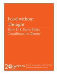Food without Thought - Institute for Agriculture and Trade Policy